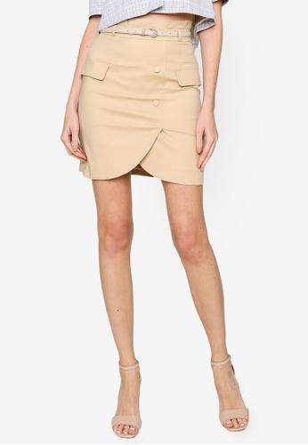 Hopeshow brown and beige Front Slip Paperbag Waist Linen Mini Skirt 4610DAAC2F5B1DGS_1