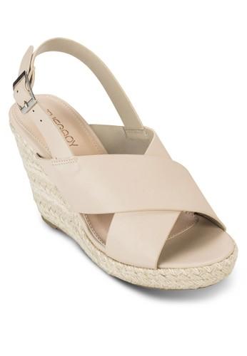 Portia esprit門市交叉繞踝麻編楔型鞋, 女鞋, 鞋
