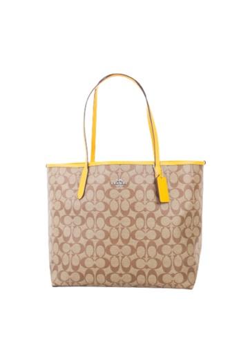 Coach brown Coach Signature City 5696 Tote Bag In Khaki 166D7AC1F607B7GS_1