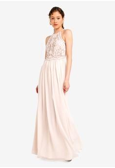 e615d11d6 Lipsy beige Embellished Halterneck Maxi Dress 34559AA949256DGS_1