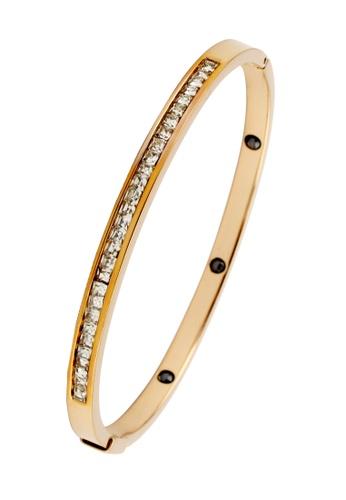 YOUNIQ gold YOUNIQ Eternal 14K Titanium Bangle with Cubic Zirconia (Rosegold) YO999AC39SBGMY_1