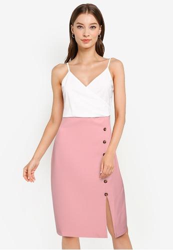 ZALORA WORK multi Colourblock Dress With Button Detail C01CCAA75F3A12GS_1