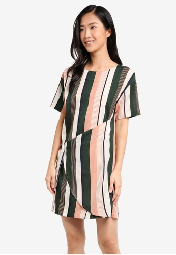 ZALORA green and multi Overlay Dress With Buckle Detail C934BAA2D7BFB1GS_1