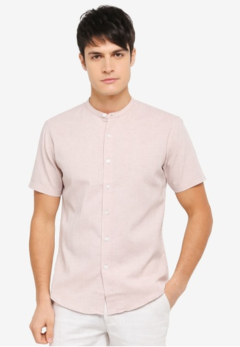 ZALORA pink Weaved Yarn Mandarin Collar Short Sleeve Shirt 8C7E1AA604BB94GS_1