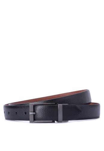 Burton Menswear London black Textured Edge Belt BU102AC0J198PH_1