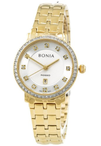 Bonia gold Bonia Rosso BNB10272-2217S Jam Tangan Wanita Stainless Steel Gold Plat Putih BO710AC60KEXID_1