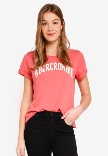 Abercrombie & Fitch red Terry Logo Tee 0129CAA58C87E2GS_1