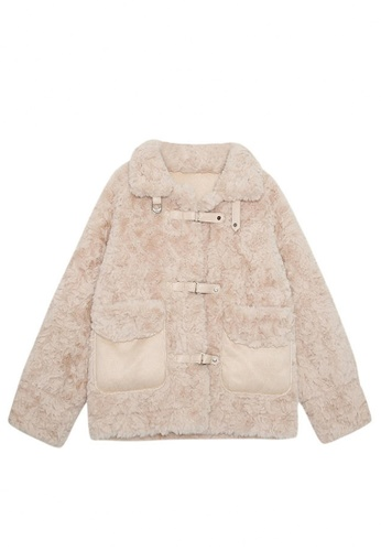 Twenty Eight Shoes beige VANSA Solid Color Lamb Wool Coat  VCW-C36088 93CBAAAA1F25A6GS_1