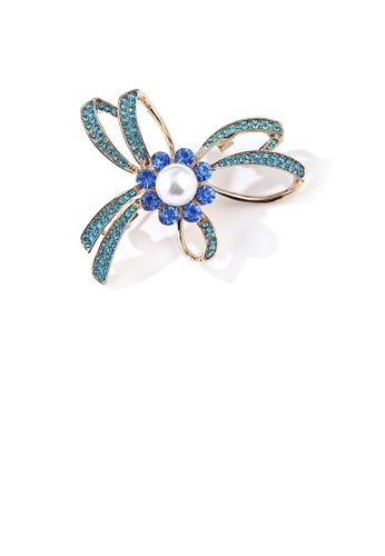 Glamorousky white Simple and Fashion Plated Gold Ribbon Imitation Pearl Brooch with Blue Cubic Zirconia F62B3AC6039224GS_1