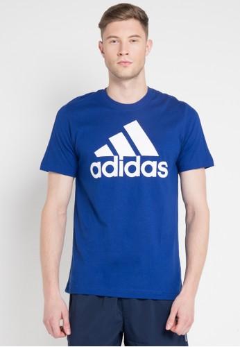 adidas blue and multi adidas essentials linear tee 10B00AAFF00BF9GS_1