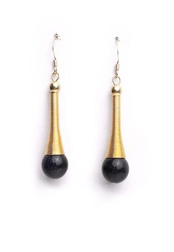 Gung Jewellery gold Reina Blue Beads Earrings in Antique Gold DBBAFAC52CD555GS_1