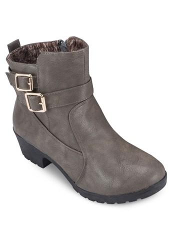 雙扣環帶粗跟短zalora 鞋評價靴, 女鞋, 鞋