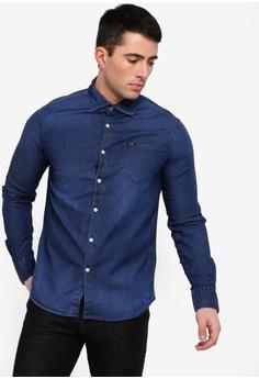 816c152a8b Guess blue Guess Classic Long Sleeve Denim Shirt E1F67AA8AC9D03GS 1