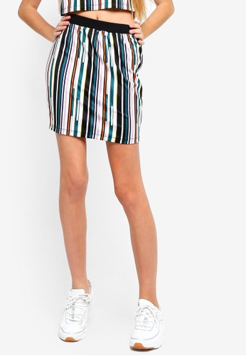 Something Borrowed green Striped Bodycon Skirt 56559AA6EE4D9AGS_1