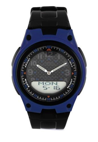 CASIO black Casio Jam Tangan Pria - Black Blue - Resin - AW-80-2BVDF DCE12ACD8CD5DDGS_1