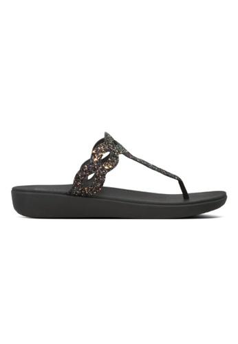 Fitflop black Fitflop Kerstin Glitter Interlace Toe-Thong All Black 75E54SH5D75938GS_1