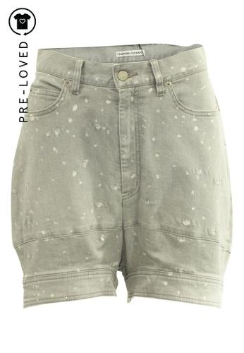Tsumori Chisato grey Pre-Loved tsumori chisato Oversized Shorts with Shinny Elements 526C6AA64F4581GS_1