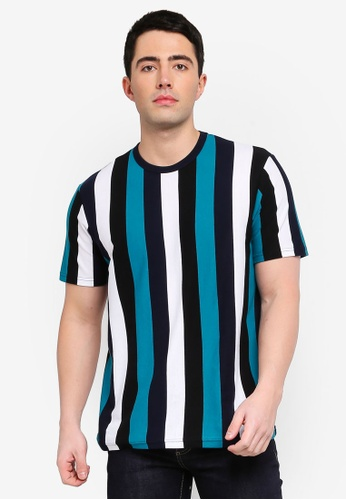 7fdc292b25 Buy Topman Teal, Black And White Striped T-Shirt Online on ZALORA Singapore