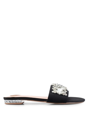 Velvet black Embellished Flat Sandals DA6ABSHC7BC381GS_1