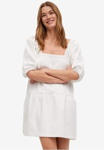 Mango white Puffed Sleeves Cotton Dress B3816AAEBB4672GS_1