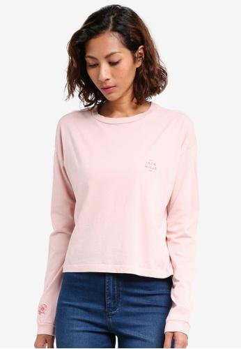 Jack Wills pink Farns Long Sleeve Graphic T-shirt 1D928AA7882D47GS_1