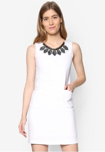 Alicia 鍊飾圓領丹esprit tst寧連身裙, 服飾, 洋裝