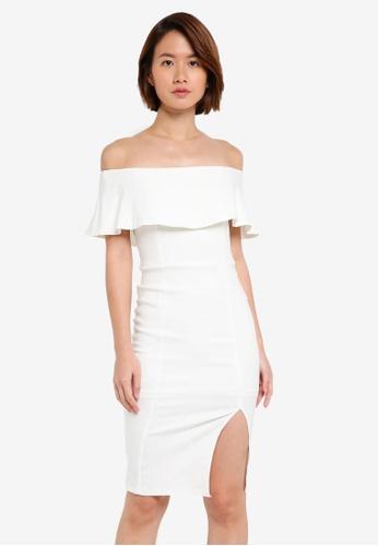 INDIKAH white Off Shoulder Pencil Dress 599B6AA332B72CGS_1