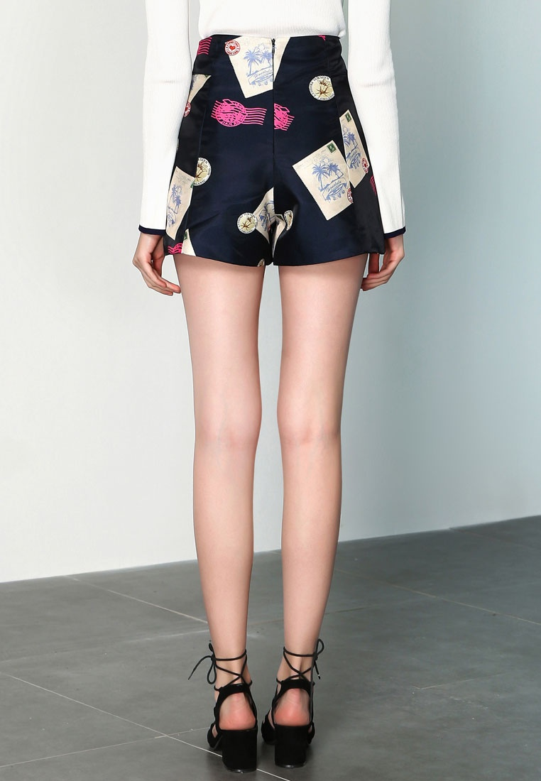 Designs High Shorts Hopeshow Waist Printed Navy With YqxpP