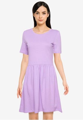 JACQUELINE DE YONG purple Pastel Short Sleeves Dress EDC7EAA2C3404FGS_1