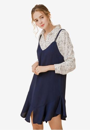 Eyescream white and blue Faux 2-Piece Slit Cami Dress A2CFBAA2588432GS_1