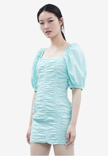 Urban Revivo 藍色 褶飾洋裝 DE8F8AAB005D96GS_1