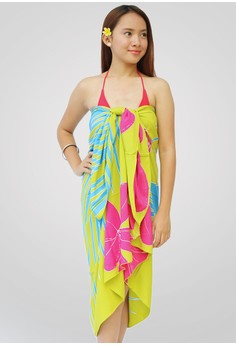 Frangipani Palm Big Anis Hand Painted Sarong