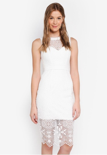 Forever New white Kate Lace Splice Pencil Dress C28D5AAA6735B5GS_1
