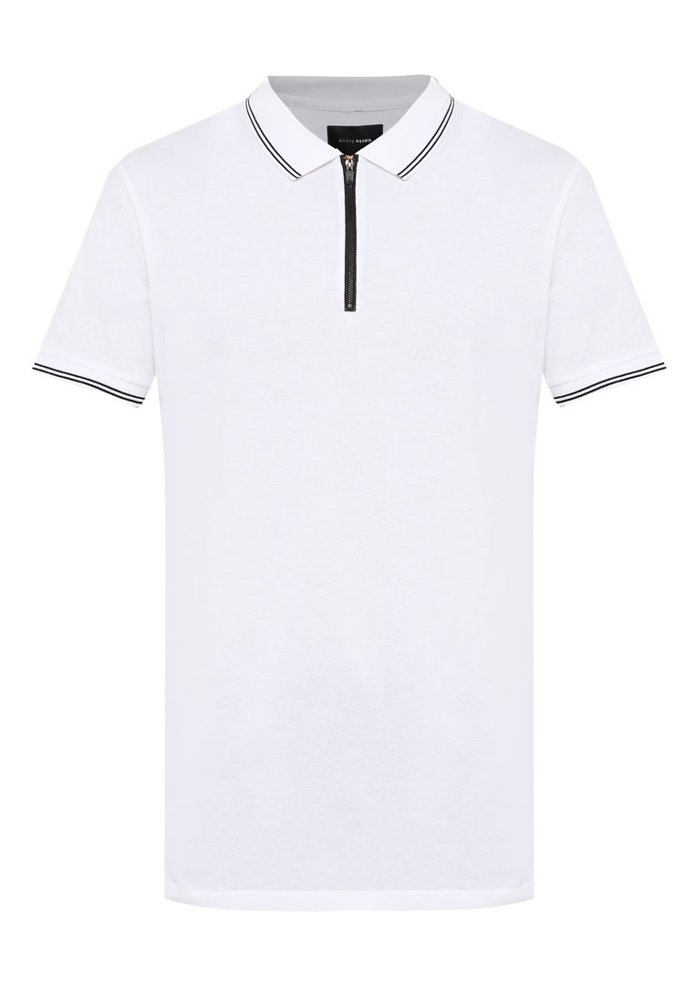 Polo Longline Short White Ae On Cotton Zip Sleeve OqEZZIp