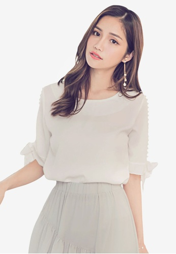 Yoco white Side Pearls Tie Sleeve Blouse 2D5FCAA3748884GS_1