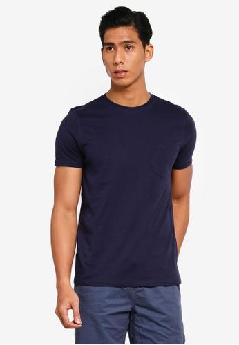 OVS 海軍藍色 Basic 口袋T恤 64655AA8C917DFGS_1
