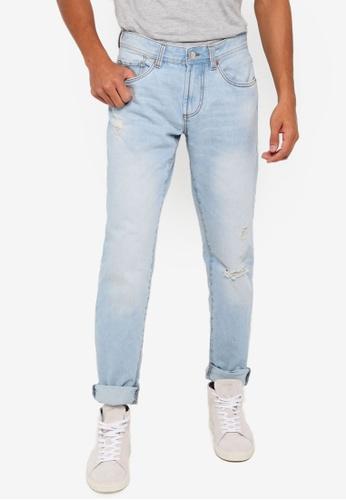 OVS 藍色 修身刷破牛仔褲 72CB6AA8EF728CGS_1