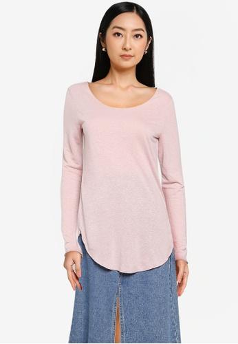 JACQUELINE DE YONG pink Linette Long Sleeve Top 802C6AA011A2AAGS_1