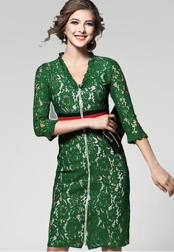 NBRAND green 3/4 Length Sleeve Lace Zipper Dress NB356AA0GHASSG_1