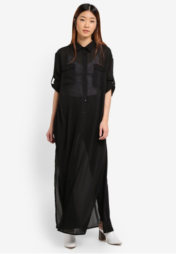 Something Borrowed black Soft Maxi Shirt Top AB238AA22A067DGS_1