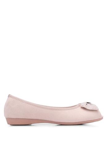 VINCCI pink Diamante Bow Peep Toe Flats VI831SH0S51RMY_1