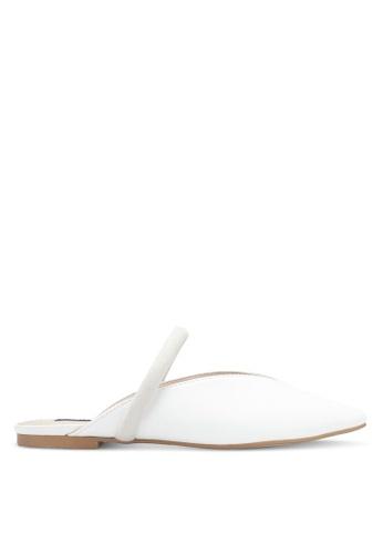 ZALORA white Faux Leather Backless Slipper 89B88SH191DDBEGS_1