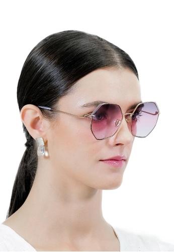Jill Stuart gold JILL STUART Quentin JS10040 Angular Metal Sunglasses 4AFA6GL3E98802GS_1
