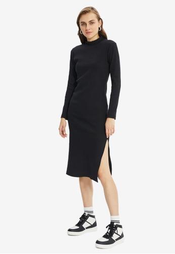 Trendyol black Bodycon Midi Knitted Dress 2549CAA8C2F90EGS_1