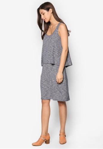 層次針織迷你連身裙, 服esprit服飾飾, 洋裝