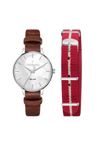 Trussardi multi T-Evolution Quartz Watch R2451120505 White and Red Leather Strap 09F41AC0352F48GS_1
