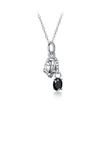 Glamorousky black 925 Sterling Silver Retro Fashion Skull Pendant Necklace with Cubic Zircon E9959AC5989C60GS_1