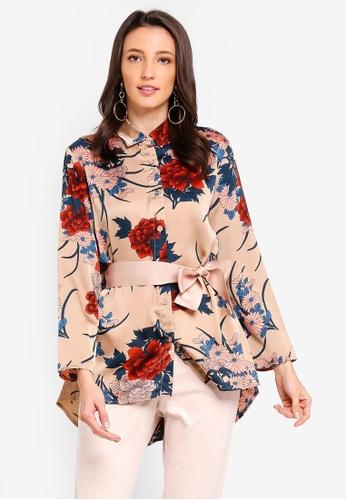 Zalia beige Printed Waisted Relaxed Shirt 8632FAA6B9EA2FGS_1