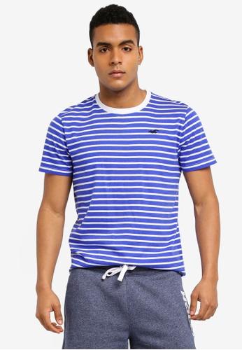 Hollister blue Rolled Cuff Stripes T-Shirt 3D027AA879CE67GS_1