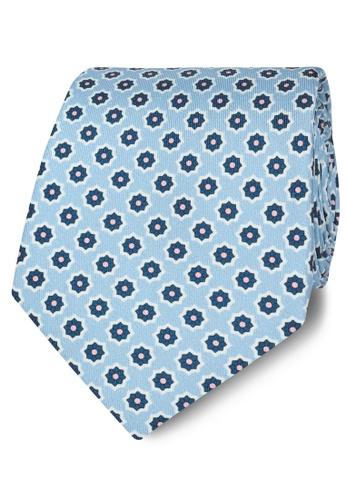T.M. LEWIN blue T.M.Lewin Blue Geometric Flower Print Silk Tie 6F761AC81C1C35GS_1
